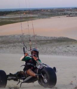Kite surfer Louis Tapper trying out Charlie's PLK Outlaw buggy