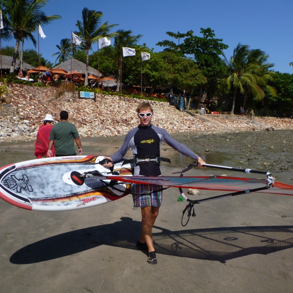 Charlie taking some of Club Ventos´ windsurfing gear out for a spin